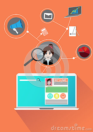 Concept Search people job profile Vector Illustration