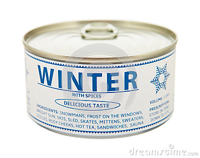 Concept of seasons. Winter. Tin can.