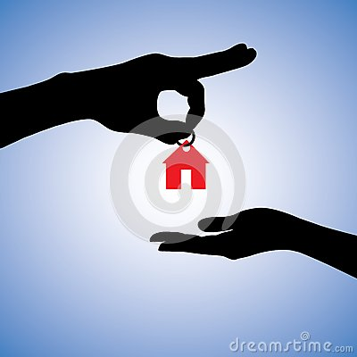 Concept of selling or gifting house illustration