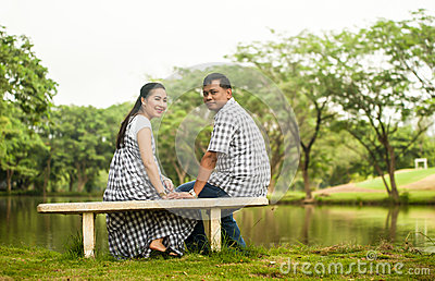 Concept shot  of Asian young couple in love .