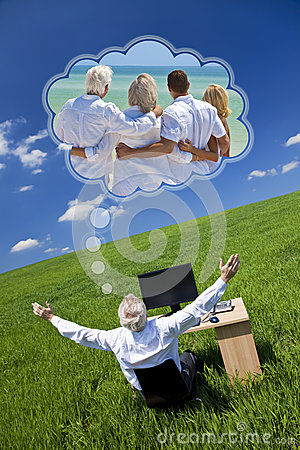 Man Dreaming Family Vacation Holiday Desk Green Field
