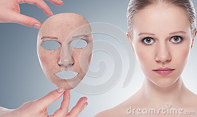 Concept skincare with  mask.