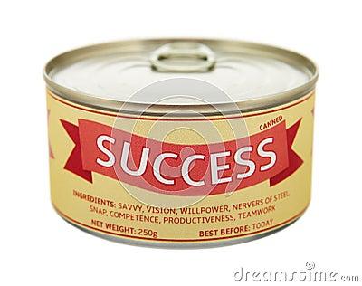 Concept of success. Tin can.