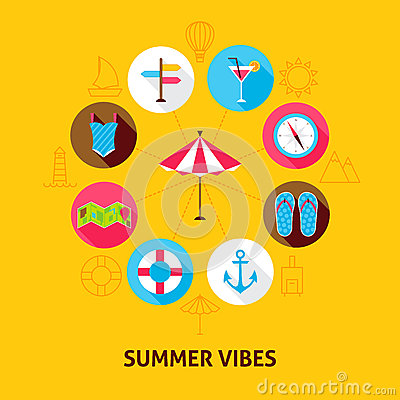 Concept Summer Vibes Vector Illustration