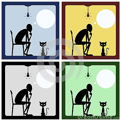 Concept of thinking man with cat