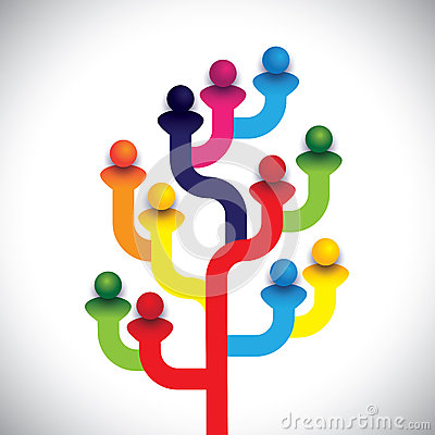 Concept tree of company employees working together as a team