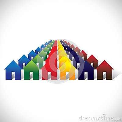 Concept vector community living - colorful houses or homes