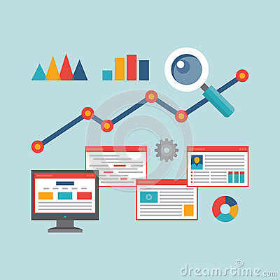 Free Concept Vector Illustration In Flat Design Style Of Web Analytics Information Royalty Free Stock Photo - 41384645