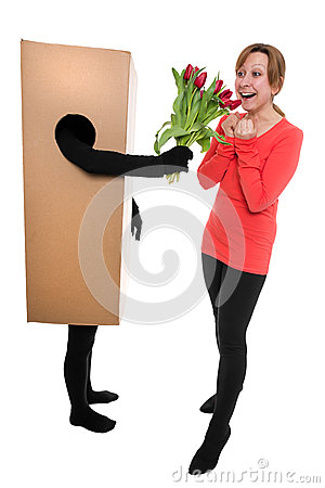 Concept: woman and package deliverer with flowers