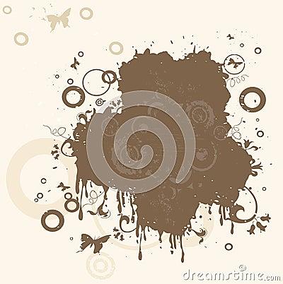 Composition abstraite avec des fleurs, des guindineaux et des cercles
