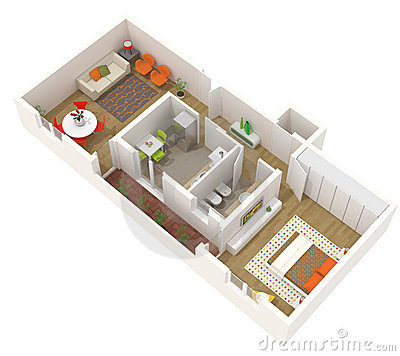 Conception d 39 appartement plan de l 39 tage 3d photo libre for Conception 3d appartement