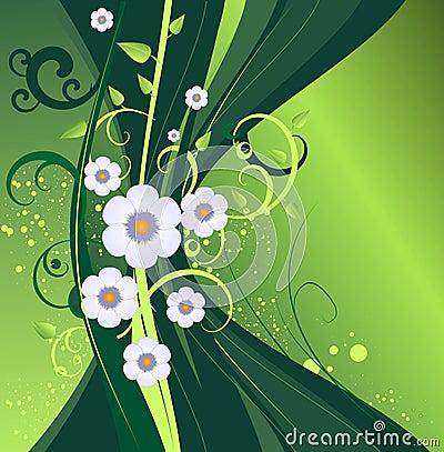 Conception florale de vecteur vert-foncé