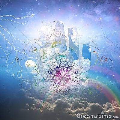 Conception ouverte de main et de particules