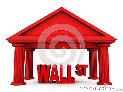 Concepto 3d de Wall Street