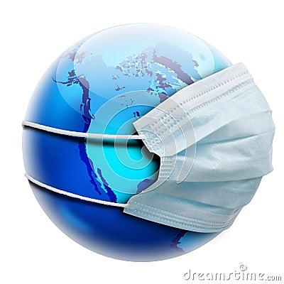 Concepto abstracto de la alegoría con la máscara del globo y de la gripe