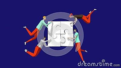 Concepto bien coordinado de trabajo en equipo Caracteres que conectan piezas de rompecabezas 4 K Negocios, soluciones creativas,  stock de ilustración