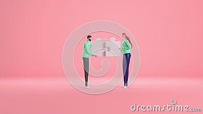 Concepto de trabajo en equipo con personas y elementos del rompecabezas Metáfora del equipo Representación 3d, vídeo 4 sobre fond ilustración del vector
