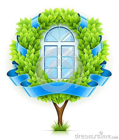 Concepto de ventana ecológico con el árbol verde