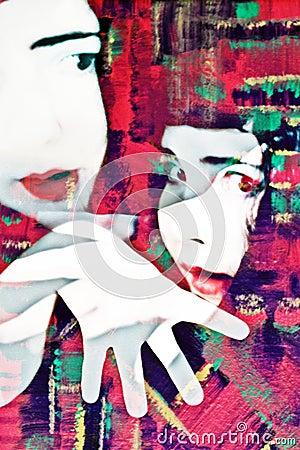 Concepto del Mime del expresionista