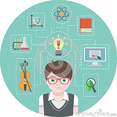 Concepto del muchacho del genio
