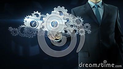 Concepto del trabajo del equipo del engranaje del éxito del hombre de negocios