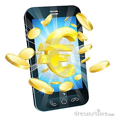 Concepto euro del teléfono del dinero