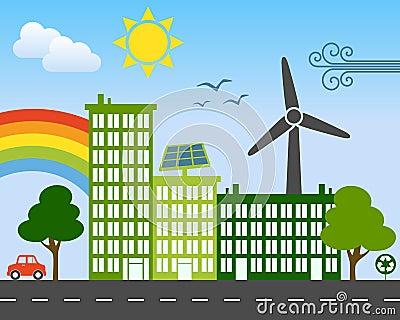 Concepto verde de la ciudad de la energía