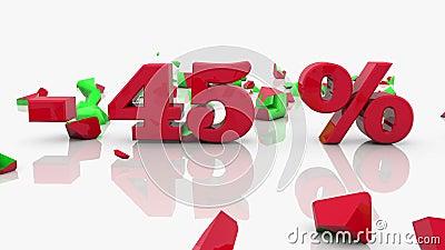 Concepts de vente et d'inscription de 45 pour cent sur un blanc clips vidéos
