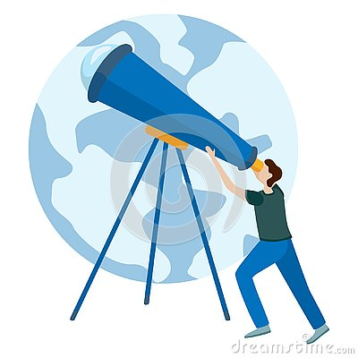 Free Concepts For Website And Applications. Astronomer Looking Through Telescope Royalty Free Stock Image - 138329946