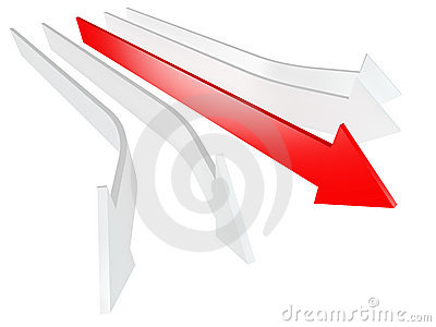 Conceptual 3d rendered image of arrow isolated