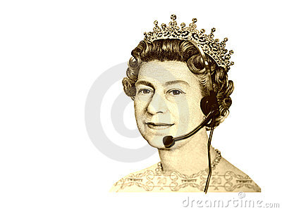 Conceptual business/customer service. The head of England currency- Queen, with headset