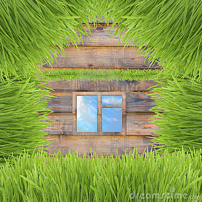 Conceptual green grass house on wooden background