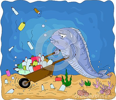 A conceptual illustration of the pollution of the world`s oceans with plastic waste. Vector Illustration