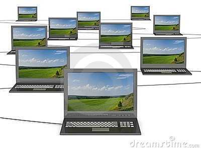 Conceptual image of a network from laptops.