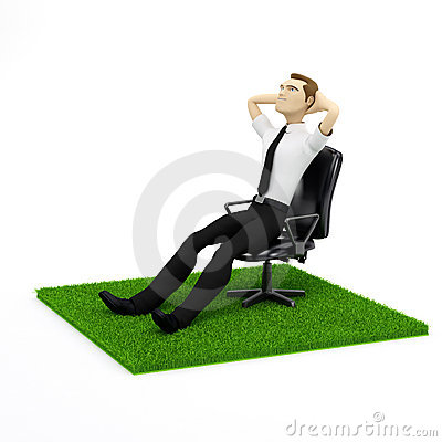 A conceptual image of a relaxing businessman