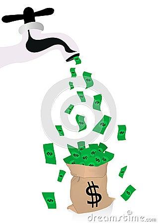 Conceptual money illustration with spigot