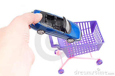 Conceptual photo with car and shopping-cart
