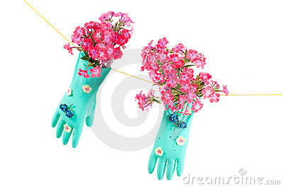 Conceptual photo with gloves