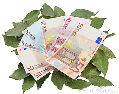 Conceptual photo - money resting on laurels