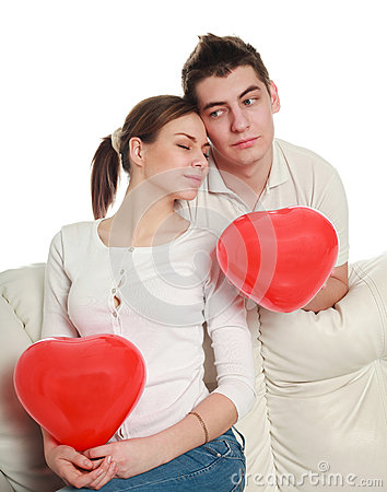 Conceptual portrait of a young couple in love