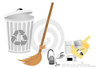 Conceptual recycle illustration with broom