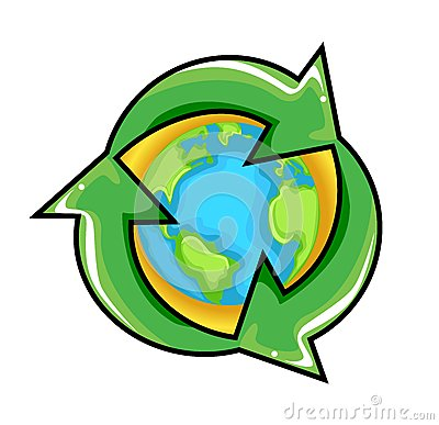 Conceptual Recycling Symbol over Earth Globe
