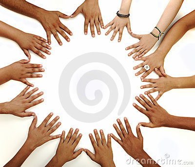 Conceptual symbol of multiracial children  hands