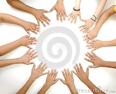 Conceptual symbol of multiracial children  hands