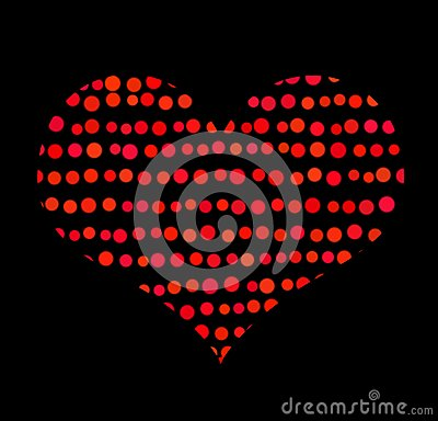 Conceptual symbol of red heart with bubbles