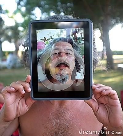 Conceptual Tablet portrait photography