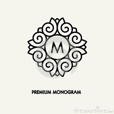 Free Conceptual Template Vector Square Logo Design And Monogram Concept In Trendy Linear Style, Floral Badge, Emblem  Stock Image - 79917111