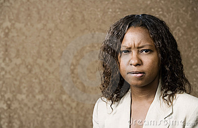 Concerned Pretty African-American Woman