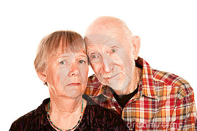 Concerned senior couple