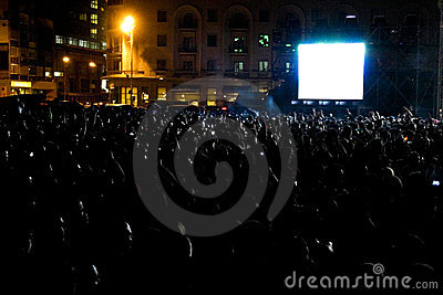 Concert crowd at night